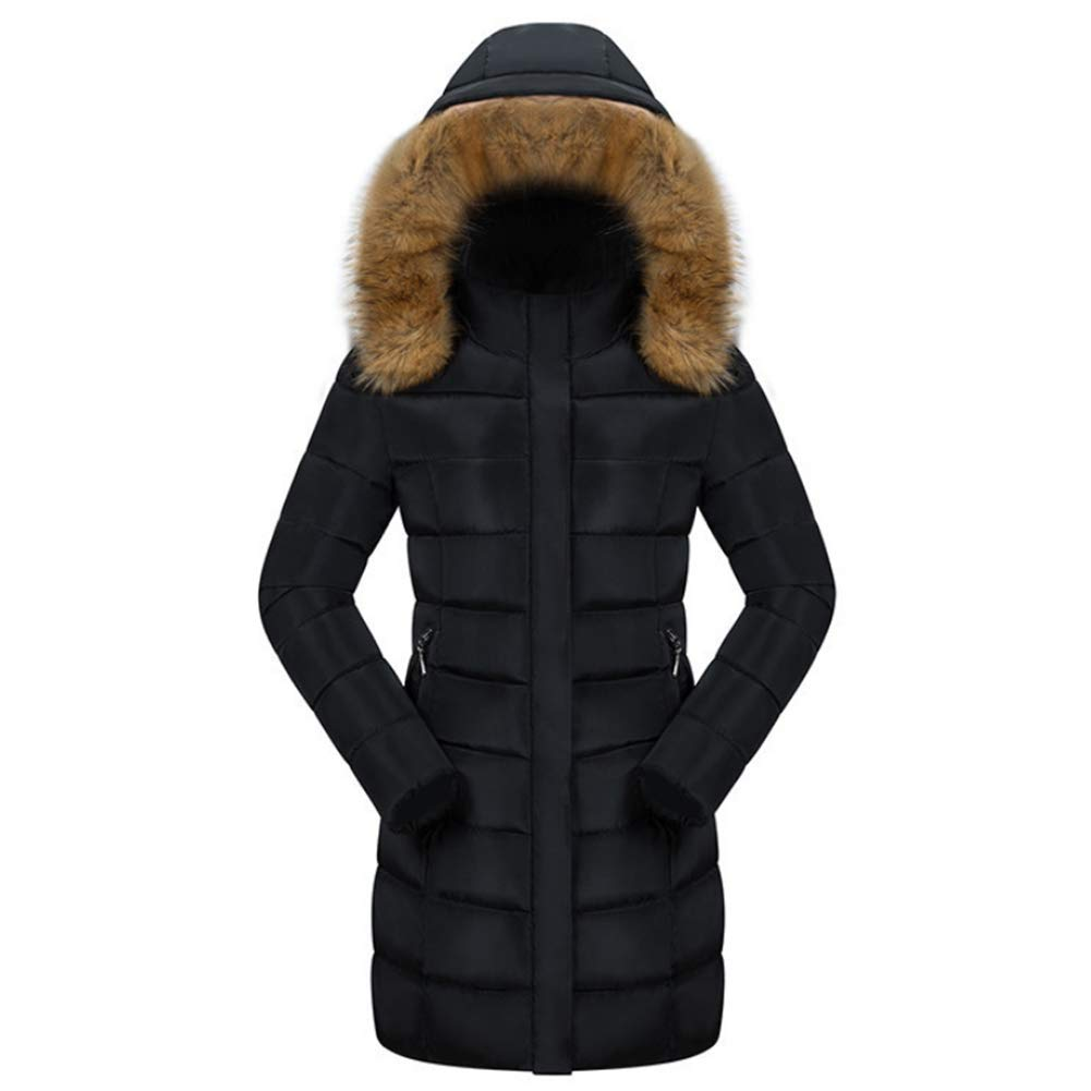 Women's Down Coat Hood Down Jacket Medium Long Thick Down Jacket Winter,L