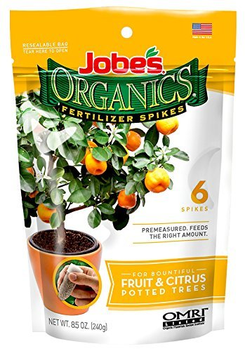 Jobe's Organics Fruit & Citrus Tree Fertilizer Spikes, 3-5-5 Time Release Fertilizer for All Container or Indoor Fruit Trees, 6 Spikes per Package (3) -