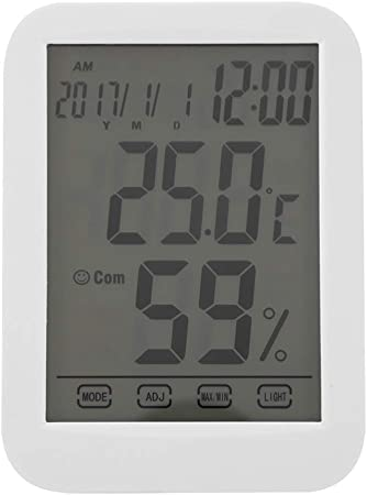 Termómetro digital táctil Reloj de pantalla grande Medidor de temperatura y humedad Termómetro para el hogar, ABS: Amazon.es: Hogar