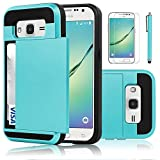 Galaxy Core Prime Case, EC™ Galaxy Prevail LTE Case, Hybrid Dual Layer Shockproof Bumper Wallet Case Cover with Card Holder for Samsung Galaxy Core Prime / Prevail LTE G360 (Light Blue)