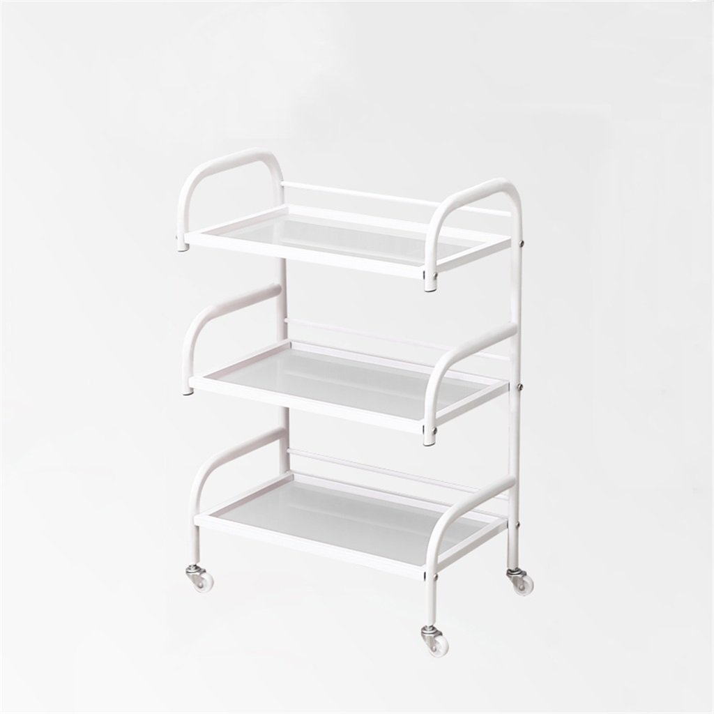 Beauty Car Shelf Iron Art Storage Rack Beauty Salon Yield Iron Art Tool Holder Three-Layer Glass Panel Trolley -Tool cart (Color : White Sand)
