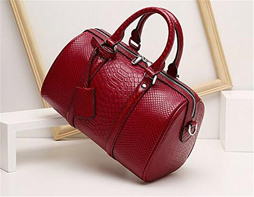 Boston Type Red serpent Litchi à Sac Modèle épaule Mesdames Sac en et Wine Oreiller main cuir peau de nw6q6X8fTx
