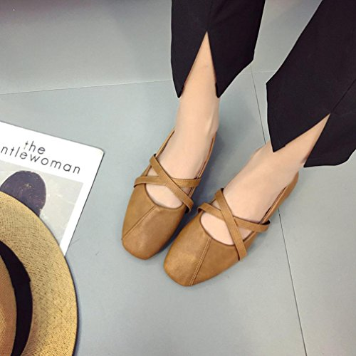 HLHN Women Shoes,Square Toe Leather Flat Heel Cross Strap Slip-On Vintage Casual Ladies Brown