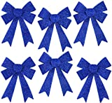 Iconikal Luxury No-Mess Glitter Christmas Bow 9 x 12-inches, 6 Pack - Blue: more info