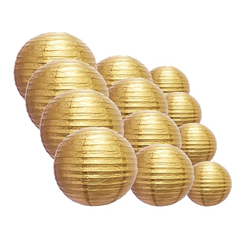 Quasimoon EVP-GD-CP12 12pcs Pack (12/10/8 Inch) Paper Lanterns Even Ribbing, Gold, 12 Piece Set by Quasimoon