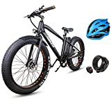 "10. NAKTO 26"" 350W Fat Tire Electric Bicycle Mountain Snow Beach Sporting Shimano 6 Speed Gear EBike Brushless Gear Motor with Removable Waterproof Large Capacity 36V10A Lithium Battery and Battery Charge"