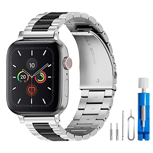 U191U Band Compatible with Apple Watch 38mm 42mm Stainless Steel Wristband Metal Buckle Clasp iWatch 40mm 44mm Strap Bracelet for Apple Watch Series 4/3/2/1 Sports Edition(Silver/Black