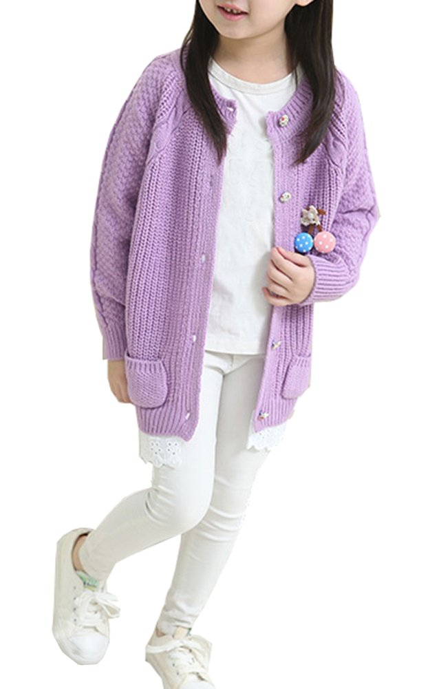 RJXDLT Girl's Knit Cardigan Little Girls Uniform Long Sleeve Button Sweaters with Pocket (9-10 Years, Light Purple)