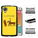 Funny Love at First Sight Between Hot Dog and Dachshund Dog Hearts Yellow Background Hard Plastic Snap On Cell Phone Case LG Nexus 5