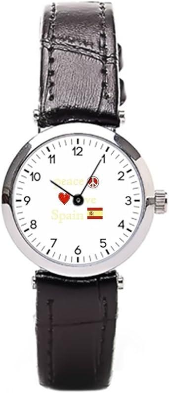 momoc símbolo de la Paz de Piel Bandas de Reloj Relojes de Bandera de España con Bandas de Cuero: Amazon.es: Relojes