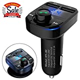 AIKESI Bluetooth FM Transmitter For Car Portable Wireless Radio Adapter&Mp3 Music Stereo Adapter Dual USB Ports Car Charger Quick Charge 3.0 Handsfree Call Car Charger for iPhone/Samsung/LG