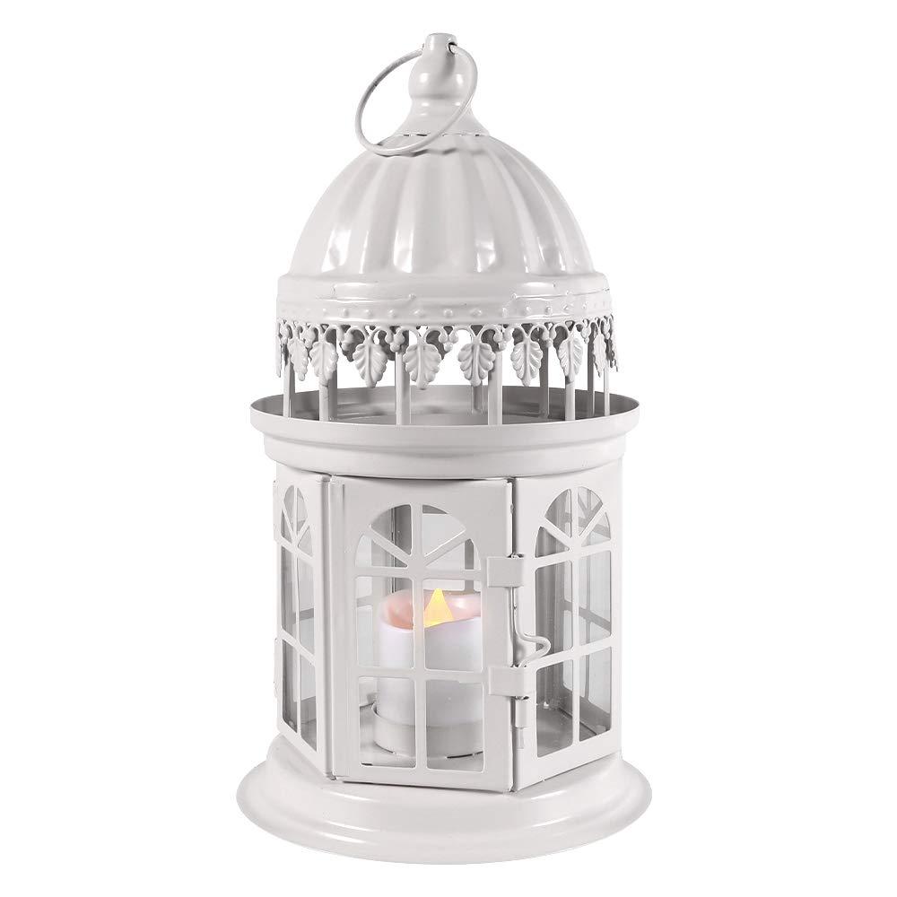 QHYK Faroles para Velas Farol Decorativo con Vela LED sin Llama Materiales Mesistentes a la Intemperie Metal Lantern de decoraci/ón de la Boda del jard/ín para Exteriores o Interiores Blanco