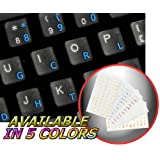 DVORAK SIMPLIFIED KEYBOARD STICKER WITH BLUE LETTERING TRANSPARENT BACKGROUND