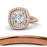 Beautiful 14K Rose Gold Plated Solitaire Cushion Cut White CZ Diamond Wedding Engagement Ring(Free Engraving)