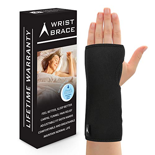 Removable Splint (ATX Night Sleep Support Wrist Brace - Carpal Tunnel Relief - Fits Both Left & Right Hand - Removable Metal Splint and Cushioning Beads for Painless Sleep - Men and Women)