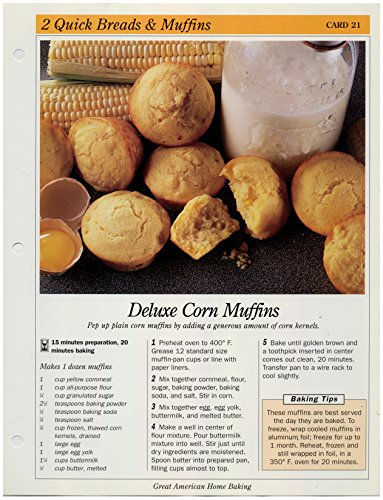 Raspberry Jam Muffins - Great American Home Baking Recipe Card: 2 Quick Bread & Muffins - Card 21 Deluxe Corn Muffins (Replacement Page or Recipe Card For 3-Ring Binders)