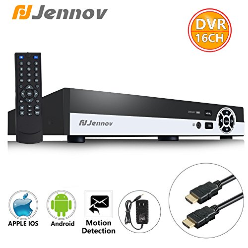 Jennov 16 Channel D1/960H Surveillance Digital Video Recorder Network DVR System For Cctv Security Camera Mobilephone Remote View Motion Detection With Free HDMI Cable