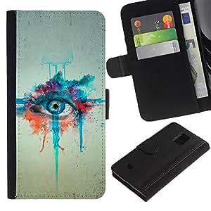 Billetera de Cuero Caso Titular de la tarjeta Carcasa Funda para Samsung Galaxy S5 Mini, SM-G800, NOT S5 REGULAR! / Watercolor Painting Eye Art Blue Drawing / STRONG
