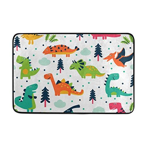 - JSTEL Cute Dinosaurs Cartoon Doormat Indoor/Outdoor Washable Garden Office Door Mat,Kitchen Dining Living Hallway Bathroom Pet Entry Rugs with Non Slip Backing