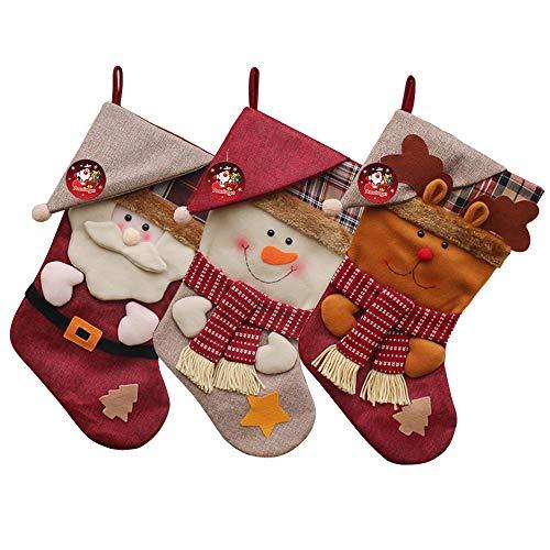 Auoinge Christmas Stockings Xmas Stocking, 3Pcs 18