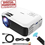 Projector, DBPOWER 2018 Upgraded Z400 Lumens Mini Projector 176 Display 50,000 Hours LED Portable Video Projector 1080P, Compatiable with HDMI,AV, USB, SD, Amazon Fire TV Stick for Home Cinema,White