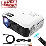 Projector, DBPOWER 2018 Upgraded Z400 Lumens Mini Projector 176'' Display 50,000 Hours LED Portable Video Projector 1080P, Compatiable with HDMI,AV, USB, SD, Amazon Fire TV Stick for Home Cinema,White