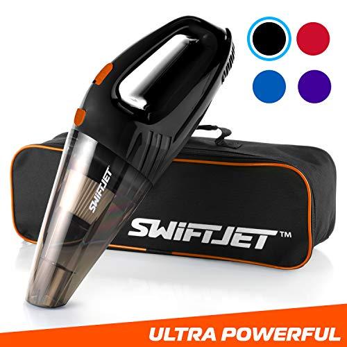 "SwiftJet Car Vacuum Cleaner - High Powered 4 KPA Suction Handheld Automotive Vacuum - 12V DC 120 Watt - 14.5"" Cord - Multiple Attachments(Black)"
