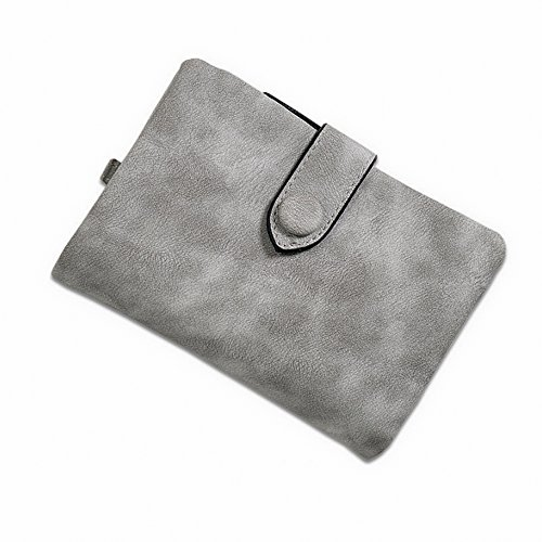 - IFUNLE Womens Soft Leather Short Wallet Card Holder Change Cash Organized Large Capacity Zipper Buckle Travel Coin Purse with Detachable Wrist Strap (Grey)