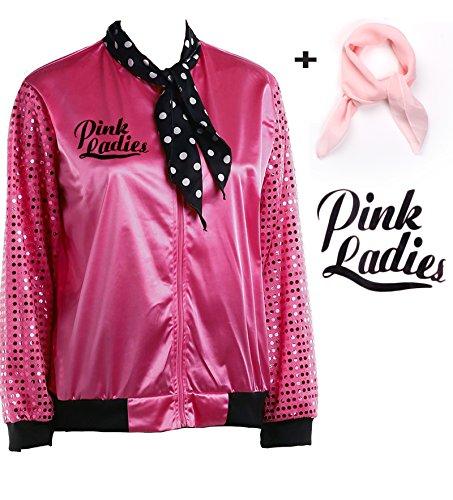 zhongyichen Women Sequins Shiny Sleeve Pink Ladies Satin Jacket 1950s Grease Costume (S, Hot Pink Jacket) -
