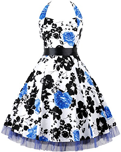 OTEN Women's Floral Vintage 1950s Halter Rockabilly Gown Cocktail Party Dress (X-Large, Blue Floral)