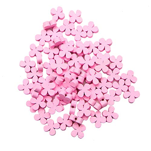 JETEHO 100 Pcs Pink Plum Blossom Flower Shape Wooden Beads Loose Spacer Beads for Jewelry Making Craft,15mm ()