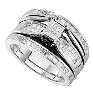 14K White Gold Illusion Setting Invisible Set Princess Cut Center with Side Stones Invisible and Channel Set Princess Cut White Diamonds Trio 3 Three Piece Womens Ladies Bridal Set Wedding Engagement Solitaire Ring ( 1.00 cttw H - I Color SI3 - I1 Clarity ) (Size 4 ~ 9)