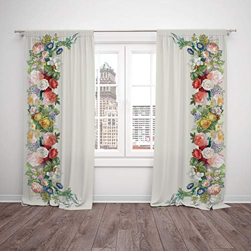 2 Panel Set Satin Window Drapes Kitchen Curtains,Victorian Decor Rose Garland in Pastel Tones Jasmine Cornflower Bouquet Classic Bloom Graphic Red Yellow Green,for Bedroom Living Room Dorm Kitchen Caf