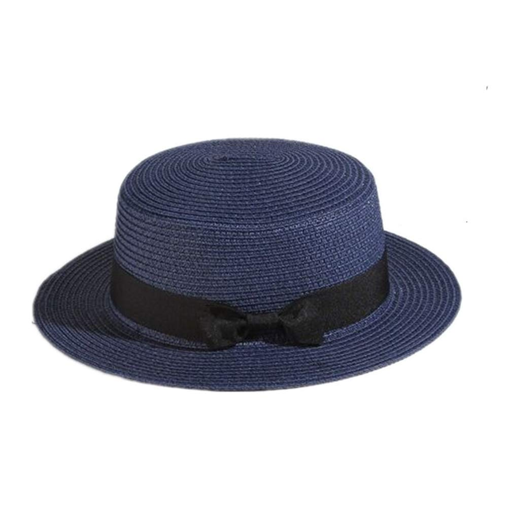 Parent-Child Boater Hat Classic Panama Hat Summer Beach Sun Cap Casual Flat Straw Fedora Hat