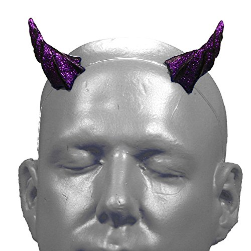 [Gypsy Star V1 Purple Glitter Devil Horns w/ adjustable, invisible headband] (Satyr Halloween Costumes)