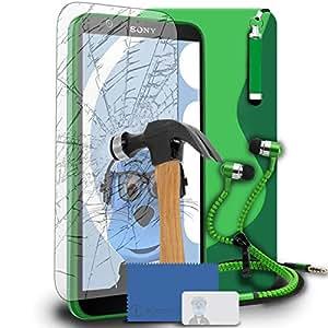 iTALKonline Sony Xperia E4TPU S Line Wave caja del gel híbrida Piel de protección Jelly cobertura con templado protector de pantalla Cristal, retráctil Mini lápiz capacitivo y auriculares 3,5mm cremallera manos estéreo gratis con Mic