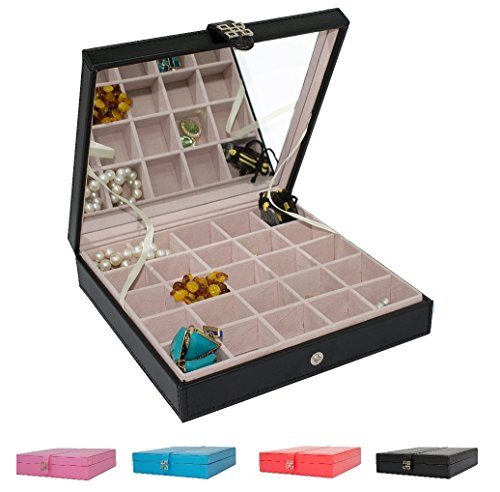 Classic-25-Section-Jewelry-Box-Organizer-Case-Holder-for-Earrings-Rings-Cufflinks-or-Collections