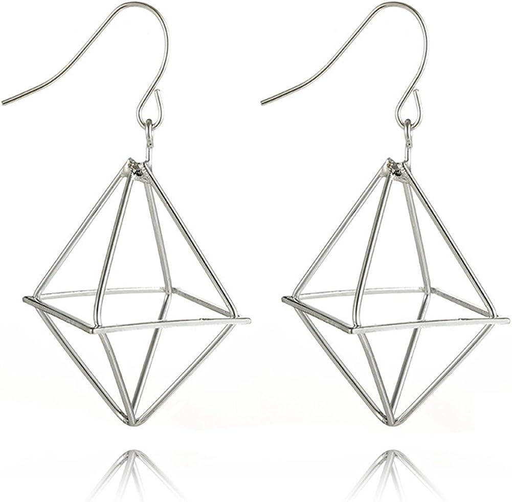 Black Cube Geometric Earrings Handmade