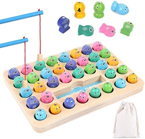 ZCOINS Wooden Magnetic Fishing Game Montessori Letters and Number Cognition Color Sorting Puzzle 36 Pack2 Fishing Poles & 1 Cotton Storage Bag Preschool Toys Gift for 3 4 5 Years Old Kid