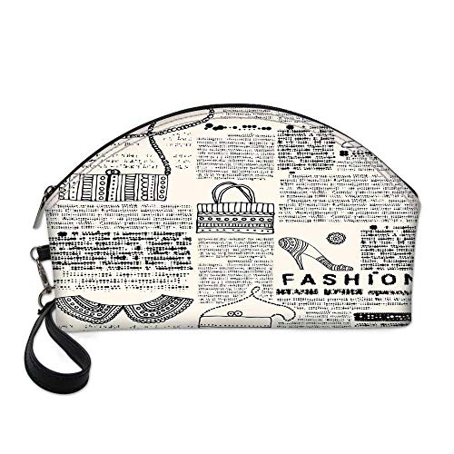 Old Newspaper Decor Small Portable Cosmetic Bag,Fashion Themed Icons Shoes Handbag Purses with Ornate Details Retro For Women,One size