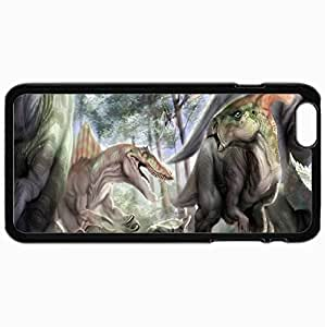 Customized Cellphone Case Back Cover For iPhone 6 Plus, Protective Hardshell Case Personalized Dinosaur Black
