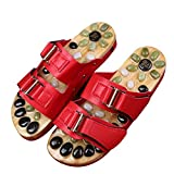 FJY Foot Massage Slippers Shoe Foot Care Reflexology Sandals With Natural Acupuncture Stones Mules Promote Blood Circulation and Improve Metabolism CM001,Professional Edition, red, 39/40 EU