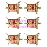 Panchal Creation 6 Pcs Traditional Indian Copper Sigdi Food Warmer Hotelware Angeethi Tableware