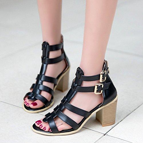 COOLCEPT Damen Mode T-Spangen Sandalen Open Toe Blockabsatz Schuhe Mit Zipper Schwarz