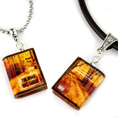 The ROAD NOT TAKEN Robert Frost Polymer Clay Mini Book Pendant Necklace Unisex by Book ()