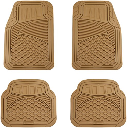 AmazonBasics 4 Piece Heavy Duty Rubber Car Floor Mat, Beige