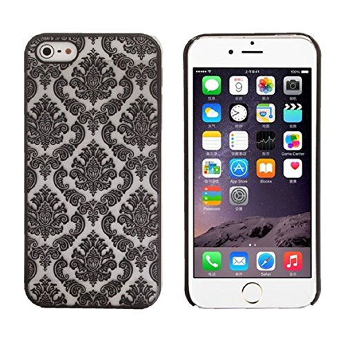 Iphone 5s Case, Shensee Vintage Carved Damask Pattern Matte Hard Plastic Clear Case Silicone Skin Cover for Iphone 5 5s (Black)