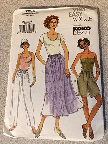Vogue 7294 - Patrones de costura para falda de mujer, pantalones ...