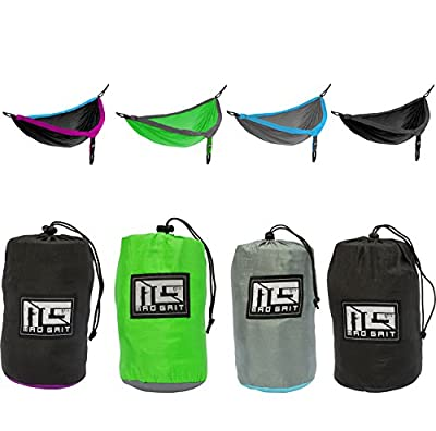 Double Camping Hammock With 2 Free Bonus Hanging Tree Straps and Carabiners - Ultralight Portable Compact Parachute Nylon Perfect for Outdoor Backpacking, Hiking, Beach, Backyard, Camping, & Travel.