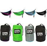 Insane Deal! Ends Today! Double Camping Hammock 2 Free Bonus Hanging Tree Straps and Carabiners - Ultralight Portable Compact Parachute Nylon Perfect for Outdoor Backpacking, Beach, Backyard, Camping.